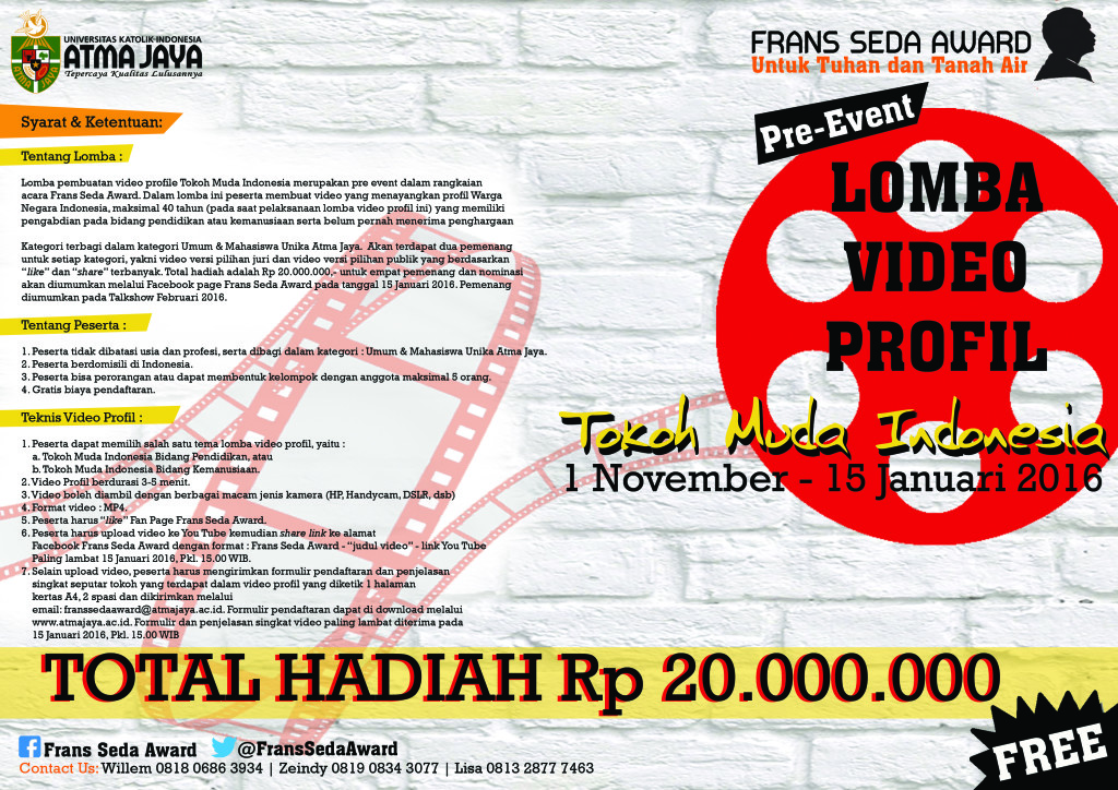 Poster Lomba Video Profile Frans Seda Award 2016