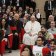 Pope Francis poses for a photo at a pre-synod gathering of youth delegates at the Pontifical International Maria Mater Ecclesiae College in Rome March 19. Seated next to the pope are Cardinal Lorenzo Baldisseri, secretary-general of the Synod of Bishops, and U.S. Cardinal Kevin J. Farrell, prefect of the Vatican's Dicastery for Laity, Family and Life.(CNS photo/Paul Haring)