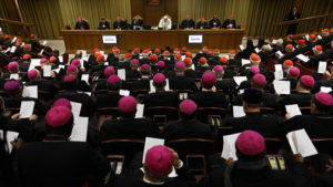 Pope Francis participates in prayer at the start of a session of the Synod of Bishops on the family at the Vatican Oct. 23. (CNS photo/Paul Haring) See SYNOD-JUDGE-LISTEN Oct. 23, 2015.